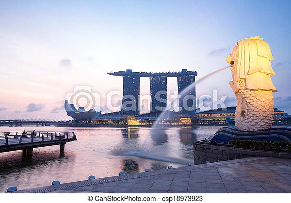 merlion, singapur - csp18973923