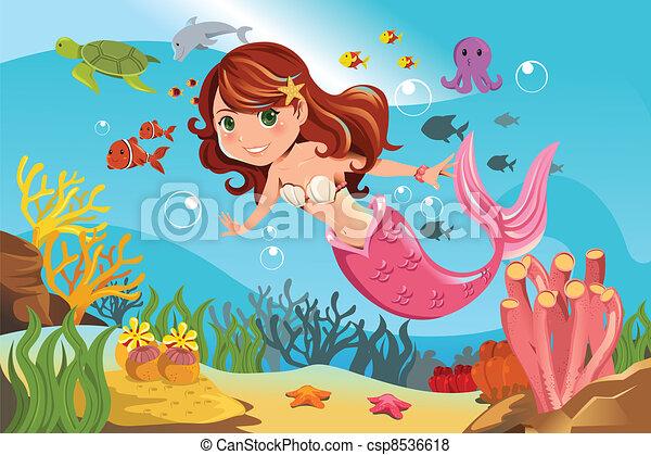 Mermaid in ocean - csp8536618