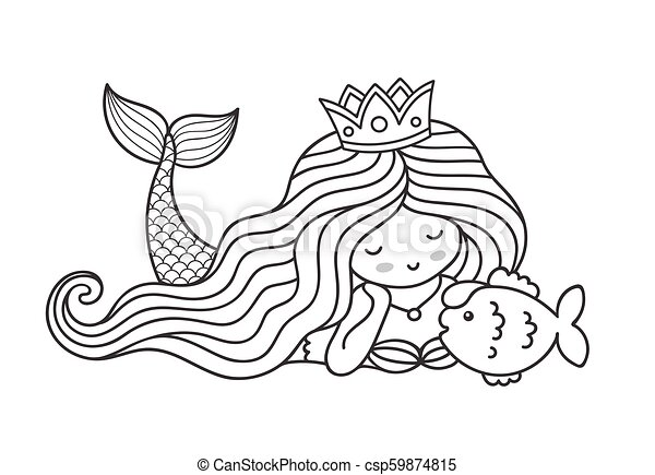 Mermaid Lying On The Seabed With Cute Little Fish Princess