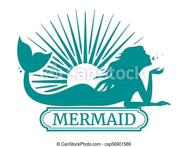 Mermaid silhouette and sun label design