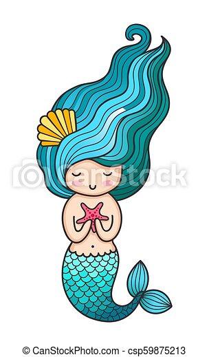 Mermaid. Siren. Cute cartoon character. - csp59875213
