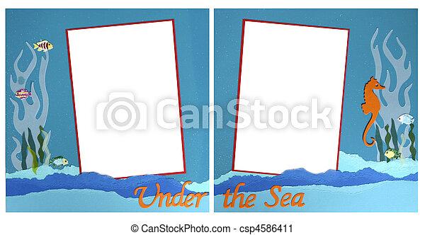 mermaid theme scrapbook frame template csp4586411