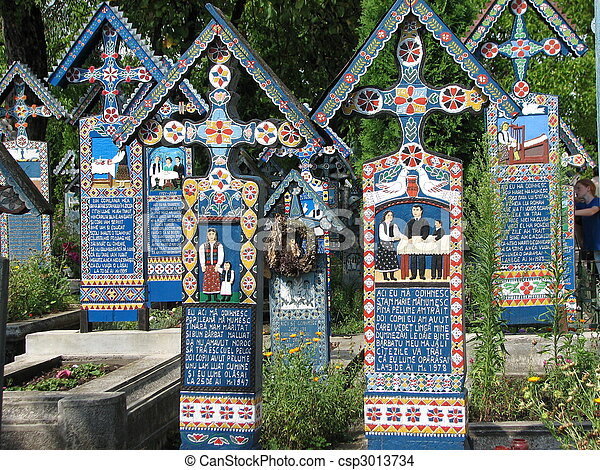 Merry Cemetery in Sapanta, Maramures, Romania - csp3013734