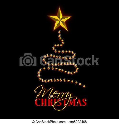 Merry Christmas Abstract Tree Black