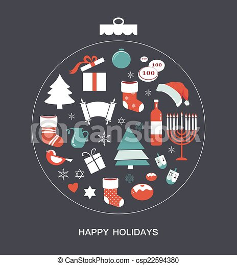 merry christmas and happy hanukkah seasonal objects csp22594380