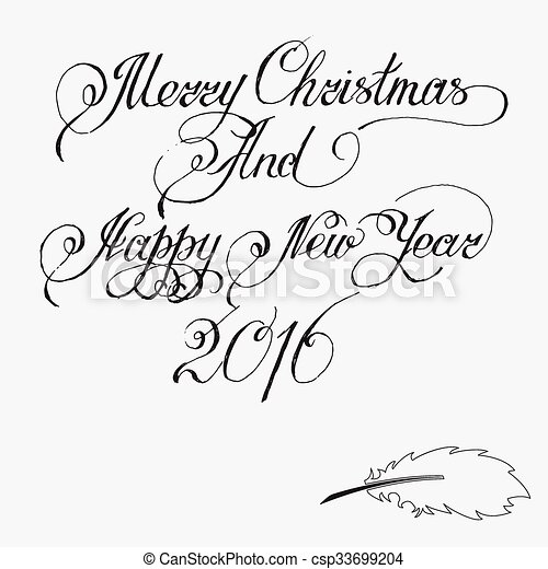 Merry Christmas Writing Clipart.Merry Christmas And Happy New Year 2016 Hand Written Text Vector Illustration For Your Design