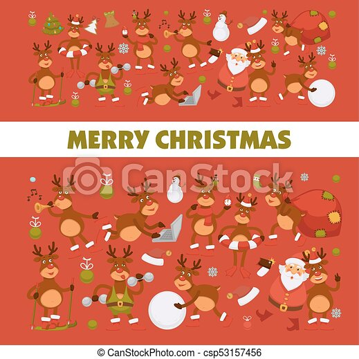merry christmas and happy new year 2018 vector poster of deer or reindeer cartoon funny character celebrating holidays vector greeting card of dog in santa