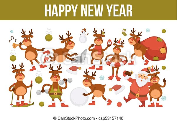 Merry christmas and happy new year 2018 vector poster of deer or ...
