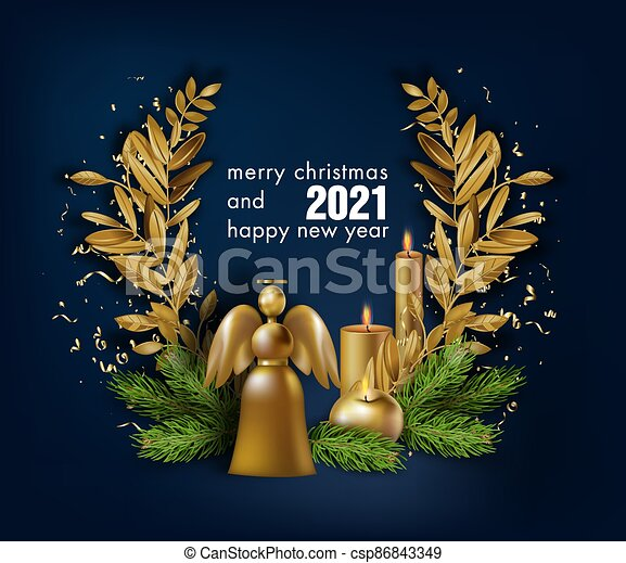 2021 Christmas Ebvent Merry Christmas And Happy New Year 2021 Banner Winter Holidays Celebration Merry Christmas And Happy New Year 2021 Festive Canstock