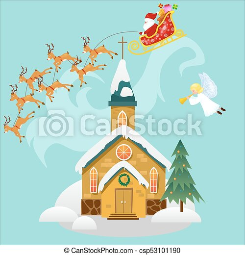 merry christmas and happy new year card church and green tree under snow christianity and catholic winter cathedral vector illustration religious holy