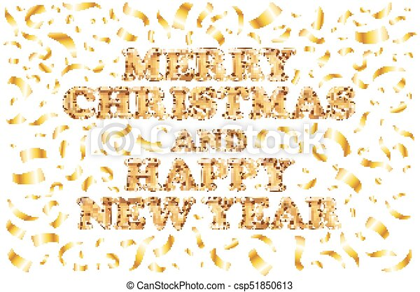 Merry christmas and happy new year card. gold template over white ...