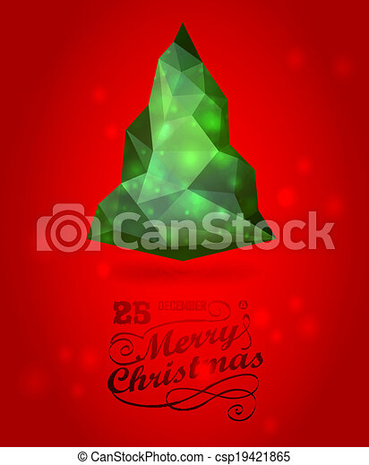 Merry christmas and happy New Year vector  luxury  background with Christmas Tree - csp19421865
