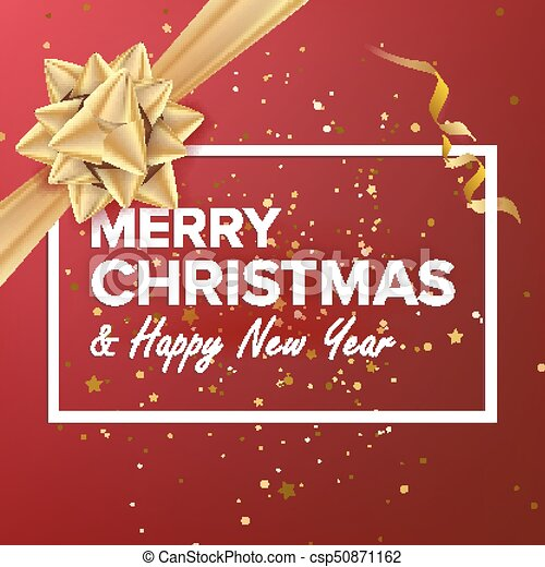 Merry Christmas And Happy New Year Vector Christmas Greeting Card Realistic Bow Xmas Modern New Year Poster Flyer Design Event Holiday