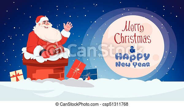 merry christmas and happy new year greeting card with santa claus chimney winter holidays banner concept