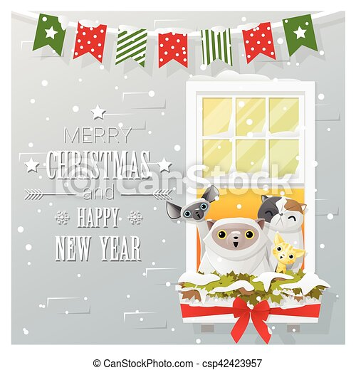 Merry christmas and happy new year greeting card with cat family ...