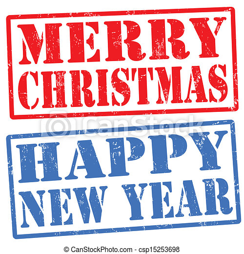 merry christmas and happy new year stamps csp15253698 - Merry Christmas And Happy New Year Clip Art