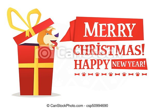 merry christmas and happy new year postcard template with the cute yellow dog inside the big red