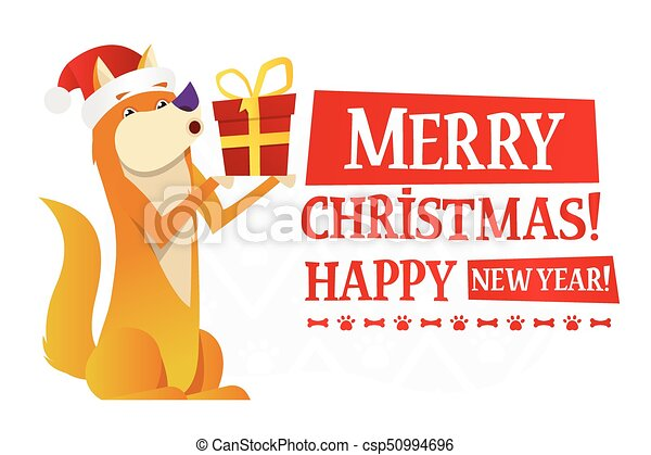 merry christmas and happy new year postcard template with the cute yellow dog with the red gift on