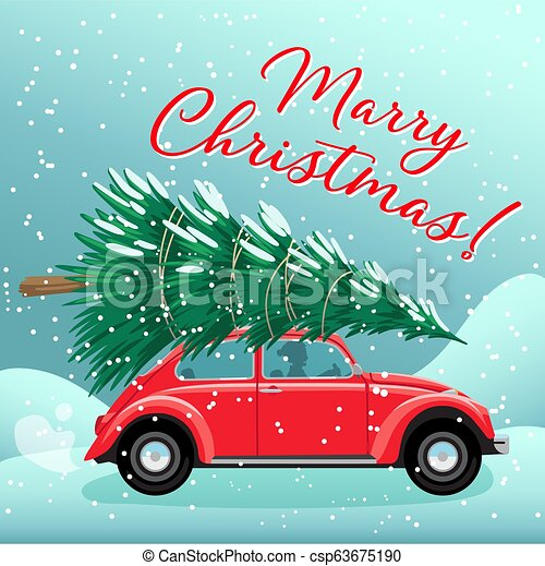 Merry Christmas And Happy New Year Postcard Or Poster Or Flyer Template With Red Retro Car Christmas Tree On Roof Vintage Canstock