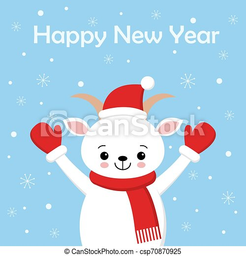 Merry Christmas and Happy New Year greeting card. Cute vector Illustration. Sweet Goat in scarf and Santa hat - csp70870925