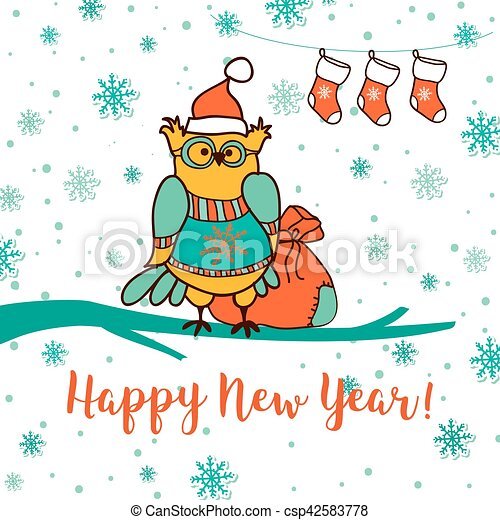 merry christmas and happy new year greeting card with cute owl in santa ha gift socks and santas gift bag hand drow style vector illustration