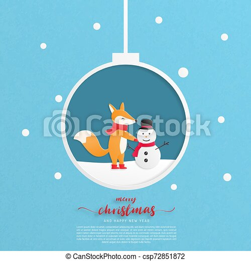 Merry Christmas And Happy New Year Greeting Card A Happy Child Fox Make A Snowman In Paper Cut Style Vector Illustration Christmas Celebration
