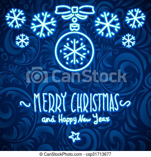 merry christmas and happy new year Neon Sign. background - csp31713677
