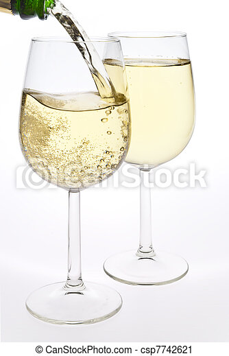 Merry christmas and happy new year. pair of champagne flutes making ...