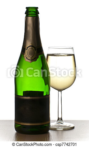 Merry Christmas and happy New year. Pair of champagne flutes making a toast, isolated on white background. - csp7742701