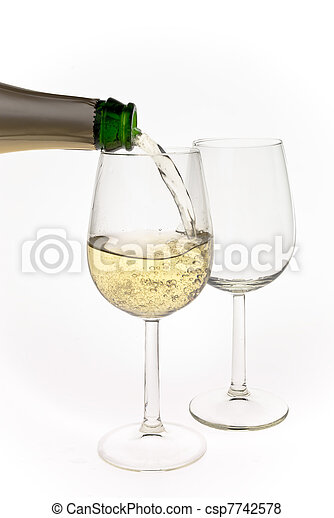 Merry Christmas and happy New year. Pair of champagne flutes making a toast, isolated on white background. - csp7742578