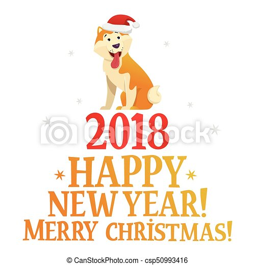 Merry christmas and happy new year postcard template with the cute ...