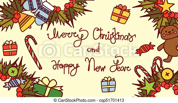 merry christmas and happy new year lettering text design on holiday decorations background hand drawn style