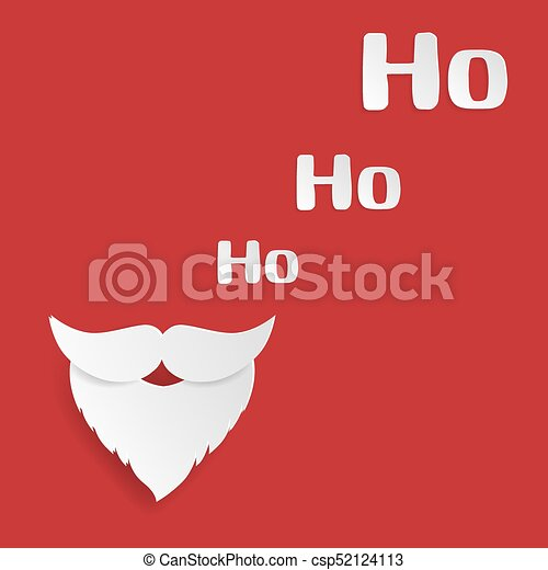 Merry christmas and happy new year greeting card santa claus merry christmas and happy new year greeting card santa claus mustache and ho ho ho words on red background paper art style vector illustration m4hsunfo