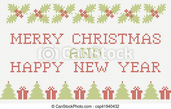 Merry Christmas and New Year cross-stitch card - csp41940432
