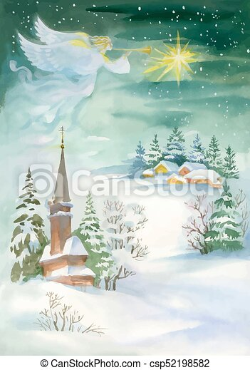 Merry christmas and new year greeting card with beautiful angel with ...