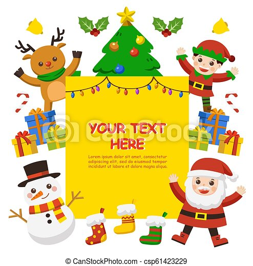 Merry Christmas And New Year Greeting Card Cute Kids
