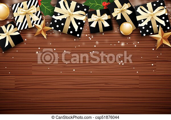 Christmas Background Design.Merry Christmas Background Design Template Gift Box And Gold Ball On Brown Wooden