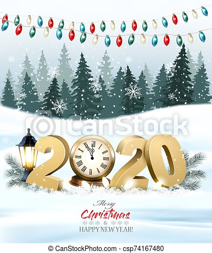 merry christmas background with 2020 and clock and colorful garland vector https www canstockphoto com merry christmas background with 2020 and 74167480 html