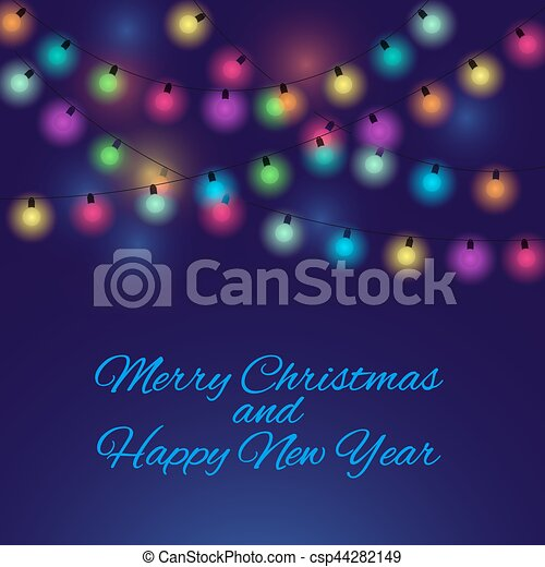 Merry Christmas background with light bulbs - csp44282149