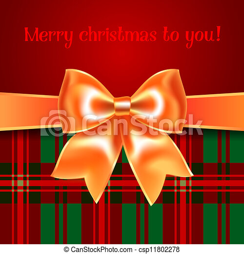 Merry Christmas background with yellow ribbon bow, 10eps - csp11802278
