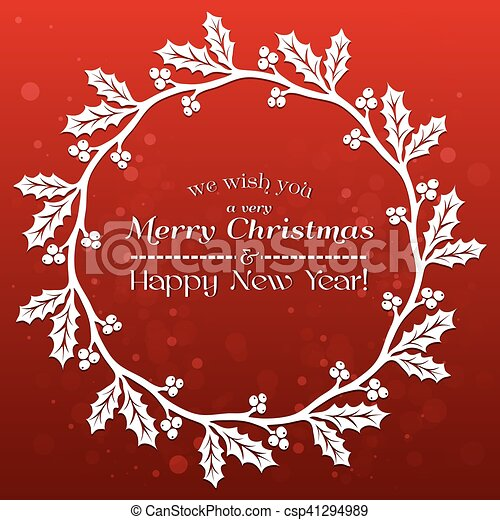 merry christmas banner with holly csp41294989