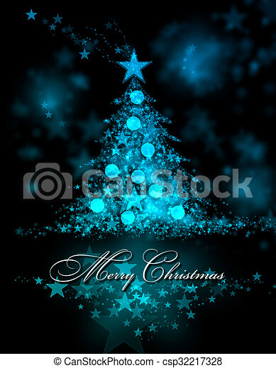 Merry Christmas. Blue background with a christmas tree and Merry Christmas Text - csp32217328