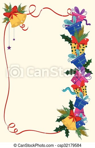 merry christmas border and decoration frame csp32179584 - Merry Christmas Border
