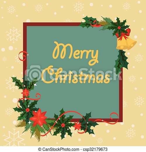 merry christmas border and decoration frame csp32179673 - Merry Christmas Border
