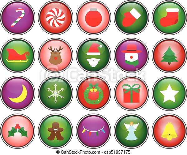merry christmas button icons csp51937175 - Christmas Buttons