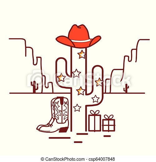 Christmas Cactus Clipart.Merry Christmas Cactus Illustration With Garland And Cowboy Western Clothes