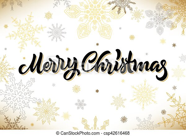 Merry Christmas calligraphic hand drawn lettering with snowflakes - csp42616468
