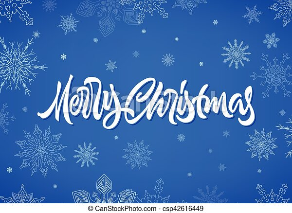 Merry Christmas calligraphic hand drawn lettering with snowflakes - csp42616449