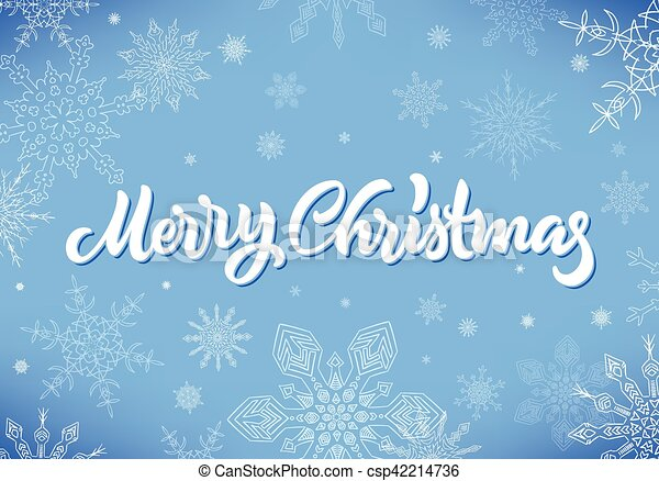 Merry Christmas calligraphic hand drawn lettering with snowflakes - csp42214736