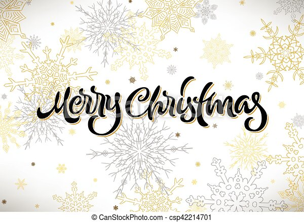 Merry Christmas calligraphic hand drawn lettering with snowflakes - csp42214701